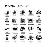 Opstarten, risicodragend kapitaal, geplaatste ondernemers vectorpictogrammen royalty-vrije illustratie