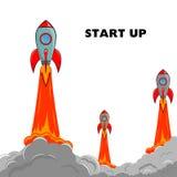 Opstarten Rocket Ship Royalty-vrije Stock Afbeeldingen