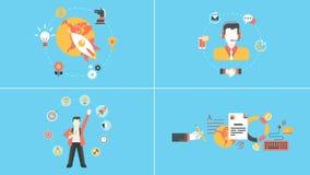 Opstarten, steun, succes, beheer geanimeerde concepten royalty-vrije illustratie