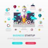Opstarten van bedrijven infographic vlak ontwerp met raketpictogram Vector illustratie royalty-vrije illustratie