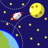 Opstarten van bedrijven, nieuw project De vlakke moderne illustratie van de ontwerpstijl Raket die van Aarde aan Maan vliegen Royalty-vrije Stock Foto's