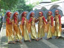 Opstelling van Indonesische meisjes Stock Afbeelding