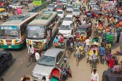 Opstopping bij het centrale deel van de stad in Dhaka, Bangladesh stock fotografie