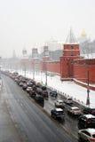 Opstopping door de muur van Moskou het Kremlin Stock Foto's