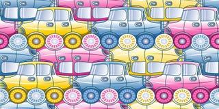 Opstopping - naadloos patroon met gestileerde auto's in drie schaduwen Stock Foto