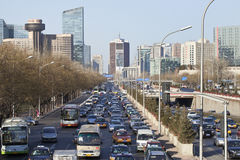 Opstopping op derde Ring Road, Peking, China Stock Afbeelding
