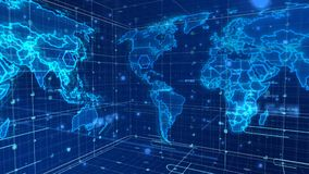 Cyberspace News World Map Stock Images