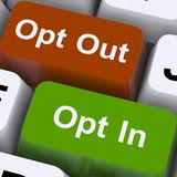 Opt In And Out Keys Shows Decision To Subscribe Stock Photography