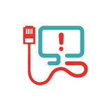 Optic cable error icon vector illustration. Disconnection icon on pc laptop. Red and blue pc not connected with cable. Electric wire icon Royalty Free Stock Image