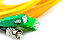 Optic cable link plug connector Royalty Free Stock Photos
