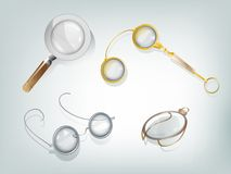 Optic devices. Set of 4 retro optic devices: magnifier, glasses, lorgnette, monocle Royalty Free Stock Image