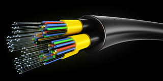 Optic fiber cable. 3d rendering of an optic fiber cable on a black background Royalty Free Stock Image