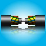 Optic fiber cable. On blue background. Vector illustration Royalty Free Stock Images