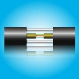 Optic fiber cable. On blue background. Vector illustration Stock Photography