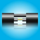 Optic fiber cable. On blue background. Vector illustration Royalty Free Stock Image