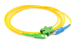 Optic fiber cable and Connector. On white background Stock Image