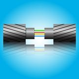 Optic fiber cable. Vector illustration Royalty Free Stock Photos