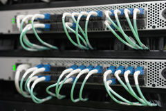 Optic fiber cables connected in data center Stock Photography