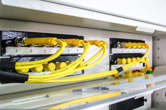 Optic fiber. High speed Optic fiber network data center Royalty Free Stock Images