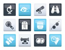 Optic and lens equipment icons over color background. Vector icon set stock illustration