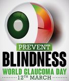 Optic Nerve Damaged due High Intraocular Pressure, Commemorating Glaucoma Day, Vector Illustration. Poster for World Glaucoma Day with a sick eye and manometer Stock Images