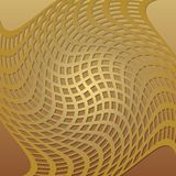Optical art background with 3d illusion, deformed golden grid, low contrasting overlay tile Stock Images