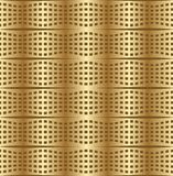 Optical art background with 3d illusion, deformed golden metal grid Stock Images