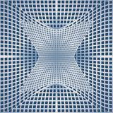 Optical art background with 3d illusion, deformed metal grid on blue area. Vector EPS 10 Vector Illustration