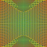 Optical art background with 3d illusion, deformed metal grid on blue area Royalty Free Stock Photography