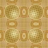 Optical art background with 3d illusion, golden grid with sphere patterns, seamless tile. Vector EPS 10 royalty free illustration
