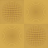 Optical art background with 3d illusion, golden grid with sphere patterns, seamless tile Stock Image