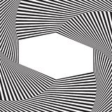 Optical art background. Optical illusion frame with empty space. Modern geometric vector pattern. Design for backdrops prints banners. Template or mock up Stock Photography