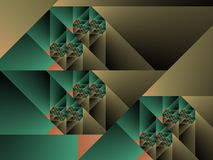 Optical Art Cubist Fractal One Green and Caqui Royalty Free Stock Images