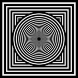Optical art. Geomrtric black and white abstract illusion. Vector royalty free illustration