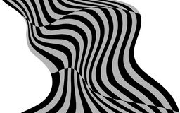Optical art wave abstract background black and white.  Royalty Free Stock Photo