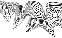 Optical art wave abstract background black and white.  Royalty Free Stock Image