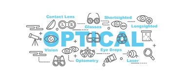 Optical  banner. Design concept, flat style with thin line art icons on white background Royalty Free Stock Images