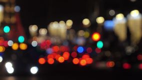 Optical blur automotive traffic at night. Russia, Moscow - December 27, 2017: Christmas Decoration Optical blur Automotive traffic at night in Moscow in December stock footage