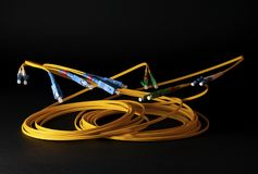 Optical Cables on black background stock photo
