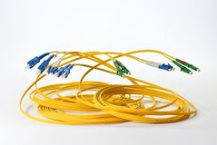 Optical cables on white background stock photo