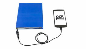 Optical character recognition concept. Book connected to a smartphone through an USB cable. Optical character recognition loading bar stock video
