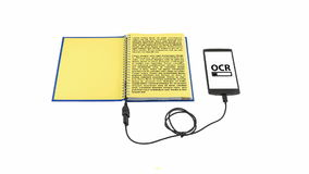 Optical character recognition concept. Book connected to a smartphone through an USB cable. Optical character recognition loading bar stock footage