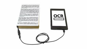 Optical character recognition concept. Book connected to a tablet through an USB cable. Optical character recognition loading bar stock video footage