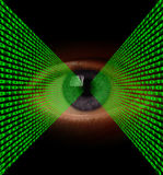 Optical Data Transfer. Lines of binary code flowing into an eye pupil Royalty Free Stock Images
