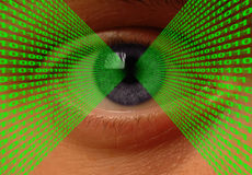 Optical Data Transfer. Binary code flowing into an eye stock illustration