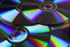 Optical discs. Optical disks with the effect of diffraction closeup Stock Image