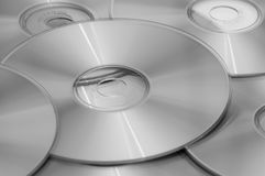 Optical discs on and next to each other Stock Photo