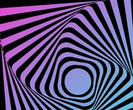 Optical distorted illusion. Multicoloured go-around optical illusion. Vasarely effect distorted surface. Twisted Stripes Background. Torsion and rotation Royalty Free Stock Photos