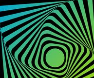Optical distorted illusion. Multicoloured go-around optical illusion. Vasarely effect distorted surface. Twisted Stripes Background. Torsion and rotation Royalty Free Stock Images