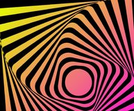Optical distorted illusion. Multicoloured go-around optical illusion. Vasarely effect distorted surface. Twisted Stripes Background. Torsion and rotation Royalty Free Stock Image